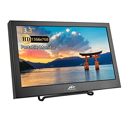 13.3 Zoll Tragbarer VGA Monitor, KENOWA Portable TFT Bildschirm Externem Monitor mit HDMI VGA für PC Computer/Laptop/Raspberry Pi / PS3 / PS4/PS5-XBOX, Aluminiumgehäuse, HD-Auflösung 1366 x 768 60 Hz
