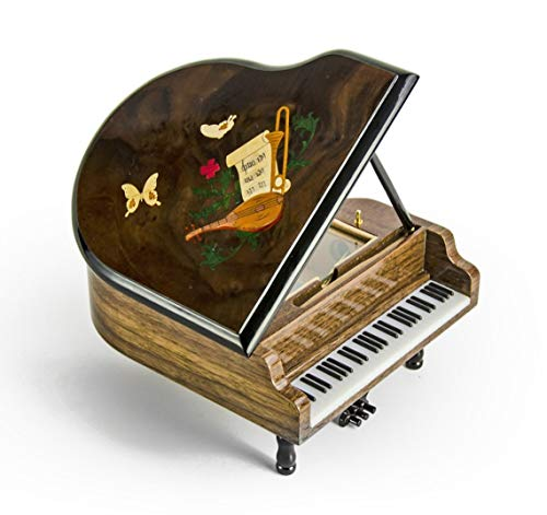 Prachtige 18 Note Miniatuur Muzikale Grand Piano Met Muzikaal Thema Inlay- Meer dan 400 Liedjes Keuzes
