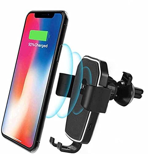 MRTYU-UY Soporte de Cargador de Coche inalámbrico rápido para iPhone 11/11 Pro / 11 Pro MAX/XR/XS, 10W para Galaxy Note 10 / Note 10 Soporte de teléfono inalámbrico para Cargador de Coche de Gravedad