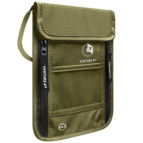 VENTURE 4TH Passport Holder Neck Wallet with RFID Blocking – Hidden Neck Pouch (Army Green)