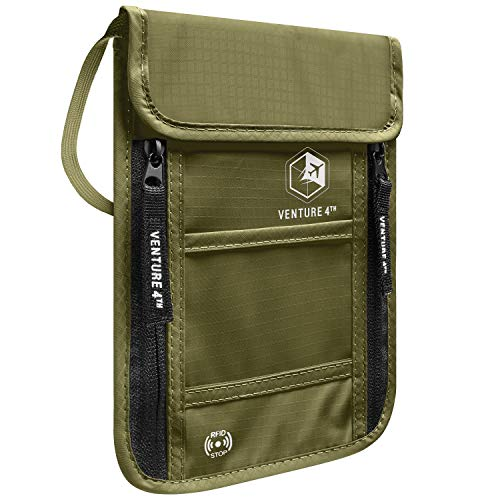 VENTURE 4TH Passport Holder Neck Wallet with RFID Blocking – Hidden Neck Pouch (Army Green)