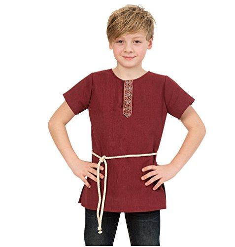 KarnevalsTeufel Kinder-Tunika edel rot T-Shirt Mittelalter Junge Kordel-Gurt (128)