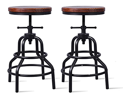 LOKKHAN Zestaw 2 przemysłowych stołków barowych – rustykalny obrotowy okrągły drewno regulowany metalowy stołek kuchenny – 50-68 cm wysokości licznika, spawany