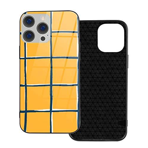 MEUYGOFLZ Compatible con iPhone 12 Pro Max, carcasa de cuerpo completo, carcasa de cristal TPU suave para iPhone 12 Pro Max 6.7 pulgadas, patrón de azulejos de piscina amarillo mostaza