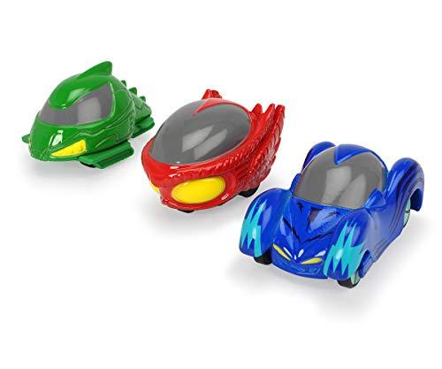 Dickie Toys PJ Masks Micro Racer Team, PJ Masks Spielzeug Set, 3er Set, Pyjamahelden Spielzeug, inkl. Katzenflitzer, Eulengleiter, Gekkomobil aus Metall, Aufbewahrung in Hauptquartier-Design, 4 cm