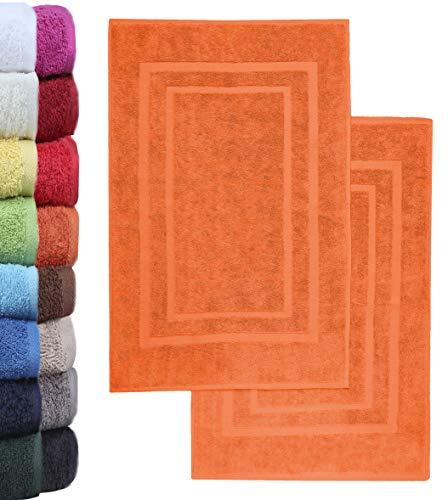 NatureMark 2er Pack Badvorleger Badematte   Premium Qualität   100% Baumwolle   50 x 80 cm   Duschvorleger Duschmatte Doppelpack   Farbe: Terrakotta