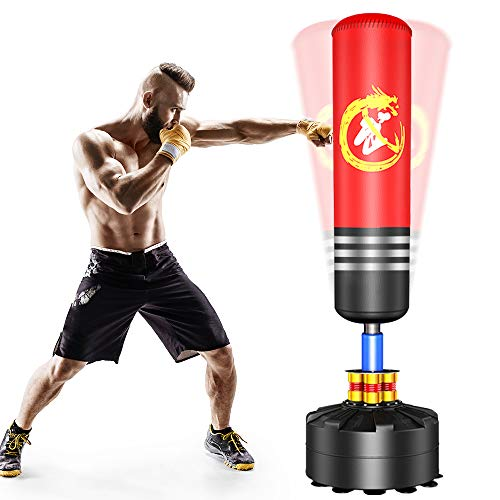 Dprodo Punching Bag Heavy Boxing Bag with Suction Cup Base - Freestanding Punching Bag for Adults Kickboxing Bags Kick Punch Bag, Red