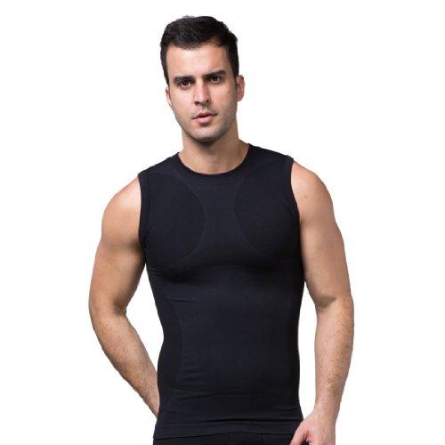 ZEROBODYS Maglietta senza Maniche Uomo compression funzionale maglia Cool-asciutto SS-M05 Nero (L)
