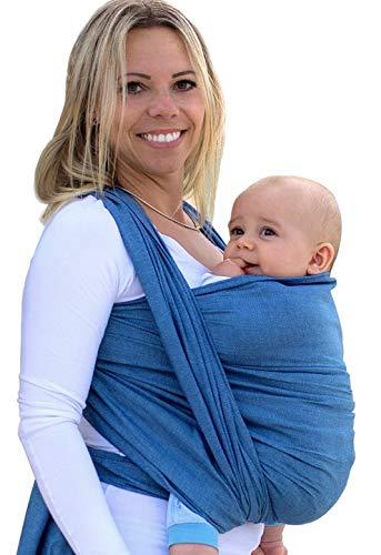 AMAZONAS Babytragetuch Carry Sling Denim - TESTSIEGER bei Stiftung Warentest mit Bestnote 1,7-510 cm 0-3 Jahre bis 15 kg in Blau