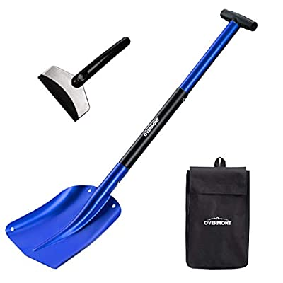 """Overmont Aluminum Snow Shovel 3 Piece Collapsible Design 26"""" – 32"""" Lightweight Portable Sport Utility Shovel for Car, Camping, Garden and Other Outdoor Activities with Ice Scraper Carrying Bag"""