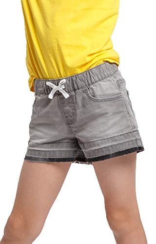 M.D.K Girls Denim Elastic Waist Band Drawstring Mid Rise Soft Stretch Stretchy Casual Active Summer Children Kids Petite Big Little Tween Teen Young Girl Jean Shorts, Gray 8-9 Years M