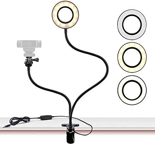 Anillo de luz,Soporte de luz para cámara Web Live Stream, con Adaptador de Rosca de 1/4,Anillo Selfie con Soporte para cámara Web para Logitech C925e, C922x, C930e, C922,C930, C920, C615, Brio 4K
