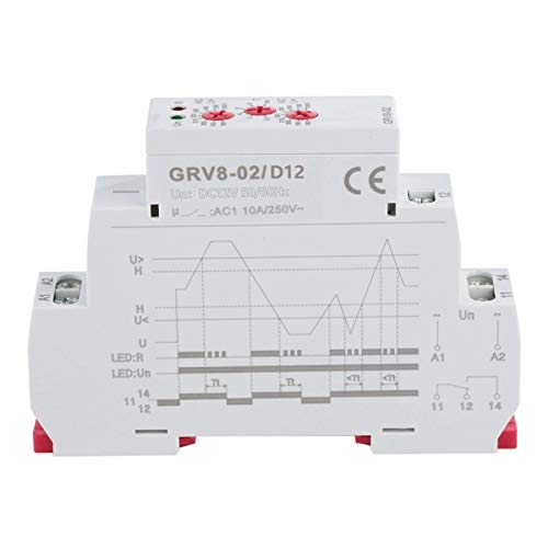 Relé de monitoreo Grv8-02 para regulación de voltaje monofásico Relé de monitoreo de protección de sobrevoltaje o subtensión ajustable con pantalla LED(GRV8-02/D12)