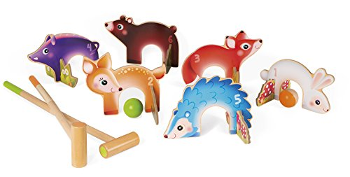 Janod J03207 Krocket-Spiel aus Holz mit Waldtieren, Spiel für den Außenbereich, für Kinder ab 3 Jahren, mehrfarbig