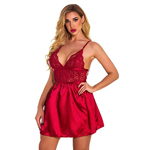 Rode Sexy Nachthemd Dames Satijn Kant V-hals Nachtkleding BabydollNachthemd Glijdt Rugloos Sexy Nachtjapon Slaap Lounge