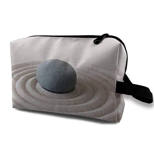 XCNGG Bolsas de aseo Bolsa de cosméticos de viaje portátil Exquisitas bolsas de aseo Bolsas de maquillaje Jardín asiático Piedra Arena