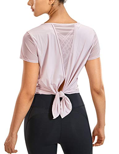 CRZ YOGA Women's Yoga Workout Mesh Shirts Activewear Sexy Open Back Sports Shirt Tops Graues Rosa 44