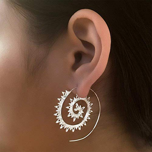 Silberne Ohrringe - Silberne spiralförmige Ohrringe - Zigeuner Ohrringe - Stammes-Ohrringe - ethnische Ohrringe - Indische Ohrringe - Erklärung Ohrringe - große Ohrringe - Silberschmuck