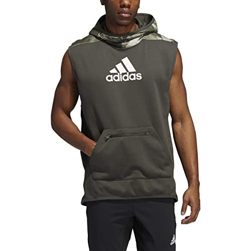 adidas Male Continent Camo City Sleeveless Hoodie, Feather Grey , 2XL