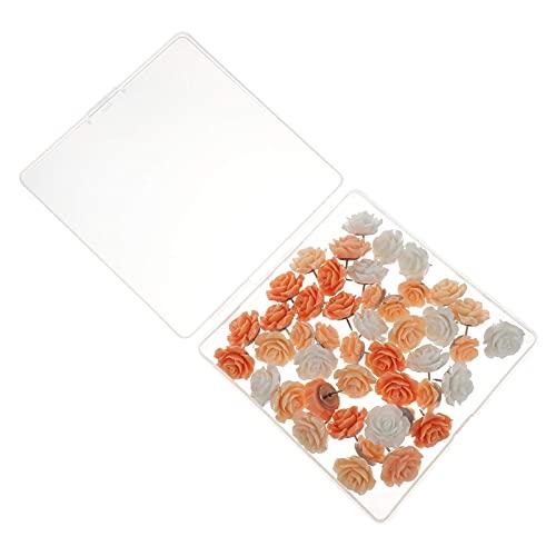 LIXBD Lot de 40 punaises décoratives en forme de fleur pour photos, cartes murales, tableau d'affichage ou tableaux en liège Rouge (Couleur : orange)