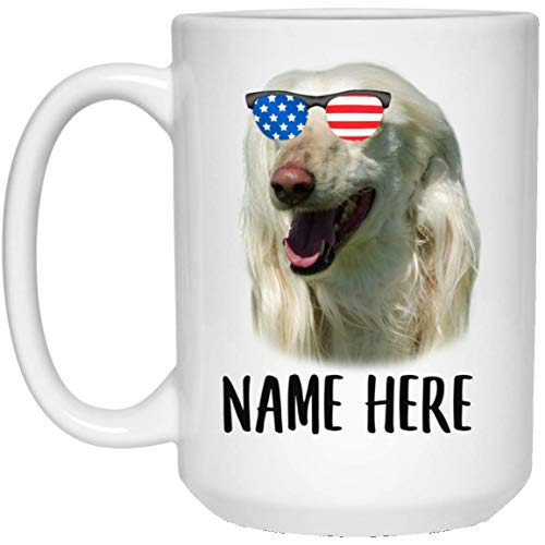 N\A Nombre Personalizado Perro Afgano Blanco con Bandera Americana Gafas de Sol Taza de café Blanca
