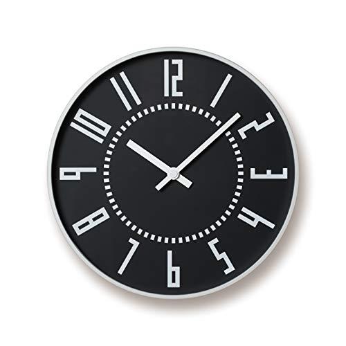 レムノス 掛け時計 アナログ エキクロック アルミニウム 黒 eki clock TIL16-01BK Lemnos 直径:25.6㎝