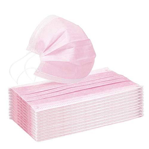 Pany 10 Stück Face Shield Einweg 3-lagig Staubschutz mit Ohrschlaufen für Frau (Rosa)