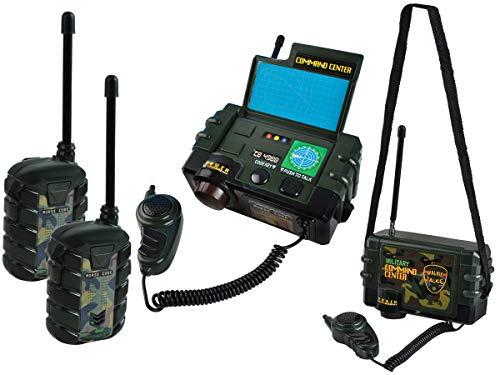 ISO TRADE Funkgeräte Set Walkie Talkie Militär Zentrale mit Mic + 2 Handfunkgeräte Kinder #6499