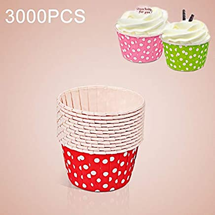 New Kitchen Appliance 3000 PCS Dot Pattern Round Lamination Cake Cup Muffin Cases Chocolate Cupcake Liner Baking Cup, Size: 6.8 x 5 x 3.9cm (Pink) Kitchen Tool (Color : Red)