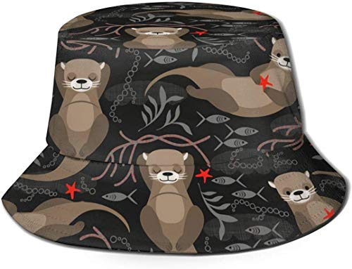 Sea Otter Charm Funnu Starfish Print Bucket Hat Fisherman Fishing Sun Cap for Adult Women Men Girl Boy Unisex