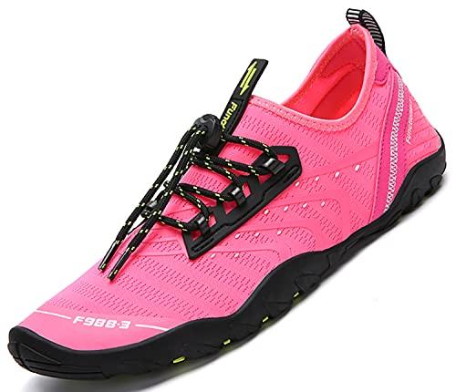 SAGUARO Buty kąpielowe, damskie, męskie, buty do wody, buty na boso, antypoślizgowe, szybkoschnące, buty na plażę, różowy - Różowy B - 40 EU