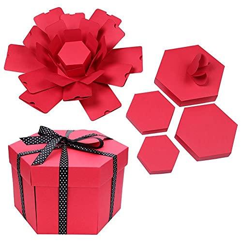 FWJSDPZ Caja Creativa Hexagonal Foto Álbum De Scrapbooking Regalo (Color : Red)