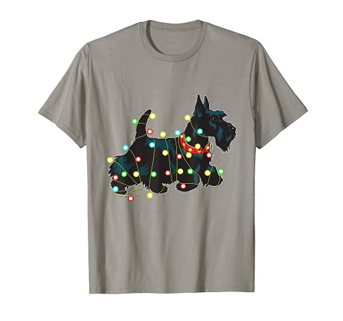 Christmas Lights Scottie - Regalo divertido para amantes de los perros Camiseta