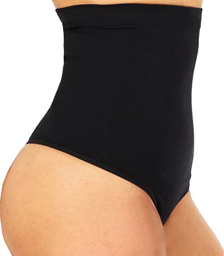 High Waist Cincher Trainer Panties Body Shaper Underwear Tummy Control Thong Shapewear Girdles Slimmer Seamless (Black, M/L)
