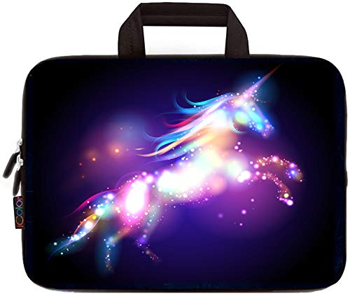 11.6 12 12.1 12.2 Inches Laptop Sleeve Carrying Bag Chromebook Cover Case, Neoprene Netbook/Notebook/Ultrabook Protective Briefcase Pouch Tote Fits Dell HP Google Acer Lenovo Asus(Colorful Unicorn)