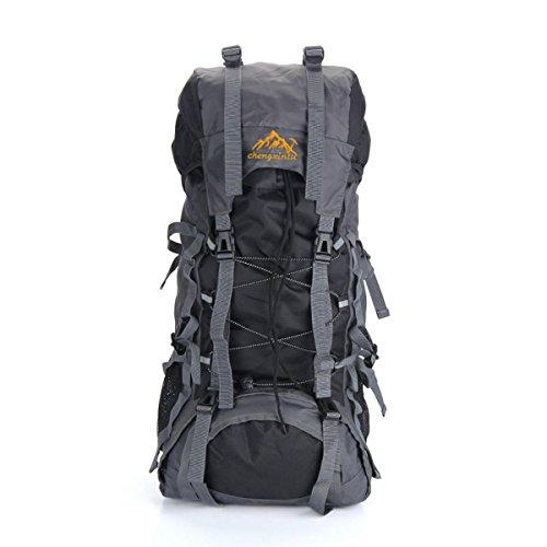 Léger 55L randonnée sac à dos multifonctionnel imperméable à l'eau sac Oxford Fabric Outdoor large Capacity Pack pour voyager Camping escalade H72 x L32 x T22 cm , black