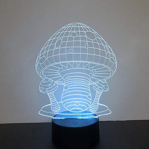 Seta acrílica 3d luz de la noche toque colorido led luz visual regalo creativo 3d lámpara de mesa pequeña-Control remoto táctil de 12 colores