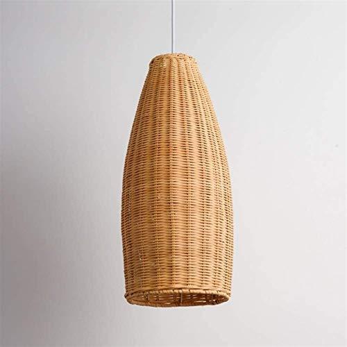 DLGGO Araña pastoral americana, lámpara de techo de bambú de tejido a mano industrial Retro Linterna de mimbre Luz de colgante E27 Zen Casa de campo Comedor Luz colgante para el restaurante Dormitorio