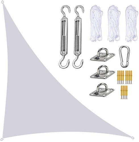 QDY -Velas De Sombra De Jardín con Kit De Fijación, Toldos De Toldo De Vela Triangular, Toldo De Protección UV Resistente Al Agua En Ángulo Recto para Exteriores,5 White,3x4x5m