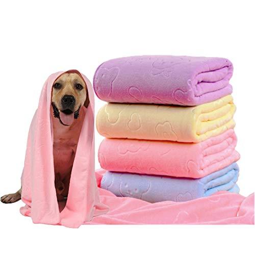 Toalla para perros,Toalla de baño de microfibra de secado rápido para perros, toallas de secado rápido, toalla absorbente adecuada para perros pequeños y medianos cachorros, 140 x 70 cm (rosa)