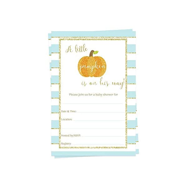 Pumpkin Fill in The Blank Baby Shower Invitations Blue Boys It's a Boy Sparkling Gold Little Pumpkin Sprinkle Invites Orange Stripes On The Way Autumn Fall Halloween Glitter DIY (15 Count)
