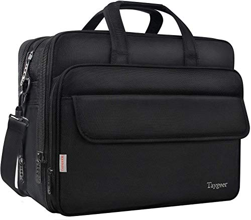 17 Inch Laptop Bag, Expandable Computer Briefcase, Taygeer Water Resistant Travel Office Shoulder Bag for Men Women, Carry on Handle Business Messenger Bag for 17 inch Tablet/Notebook/HP/Dell- Black