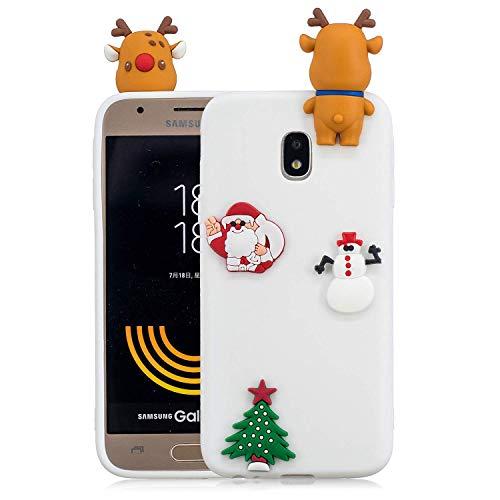 HongYong Carcasa para Samsung Galaxy J3 2017, diseño de árbol de Navidad, diseño floral, delgada, antiarañazos, a prueba de golpes, acabado brillante, flexible, ultrafina, 3D, TPU para Samsung J330