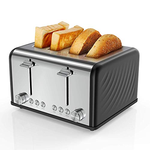 Tostadora 4 rebanadas, Famistar tostadora de acero inoxidable 1650 W, ranuras extra anchas, cuatro rebanadas, 6 ajustes de sombra de pan, tostadora con bolsa, cancelar, función de descongelación