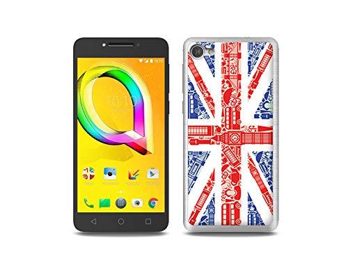 etuo Handyhülle für Alcatel A5 LED - Hülle, Silikon, Gummi Schutzhülle Fantastic Hülle - Britische Flagge