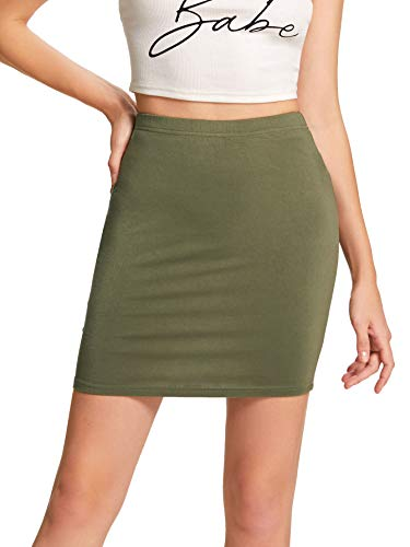 SheIn Women's Stretch Above Knee Mini Short Bodycon Pencil Skirt Army Green Small