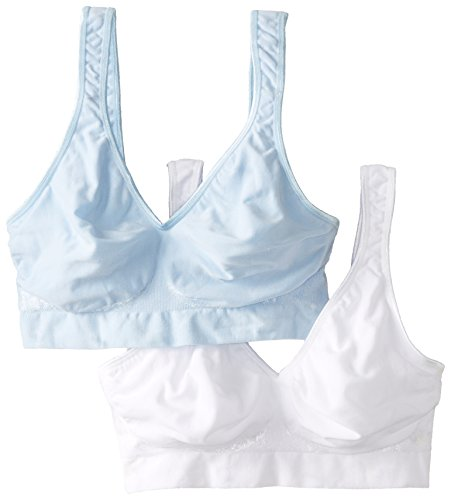 Bali Women's 2 Pack Comfort Revolution Wirefree Bra with Smart Sizes, Light Denim/White, Large