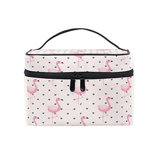 Sac de maquillage, Cute Flamingo Dot Imprimé Cosmétique de stockage de toilette Organiseur Coque Grande Poignée de voyage personnalisé Pouch avec compartiments pour Teenage Girl Femme Lady R