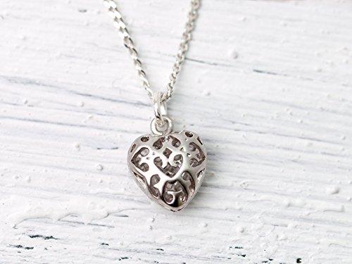 Zierliche Kette silber, Herz-Anhänger, Glückbringer, Talisman,925er Silberkettchen mit orientalischem Filigran-Herz, das romantische Geschenk