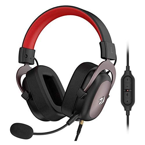 Yusea H510 - Auriculares de diadema con cable 7.1 con sonido envolvente y espuma viscoelástica con micrófono desmontable para PC
